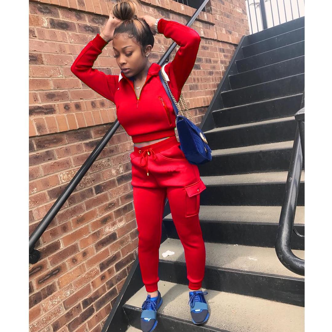 Женский спортивный костюм из 2 предметов, повседневный красный/синий/серый/черный комплект из двух предметов, толстовка с длинным рукавом + ...