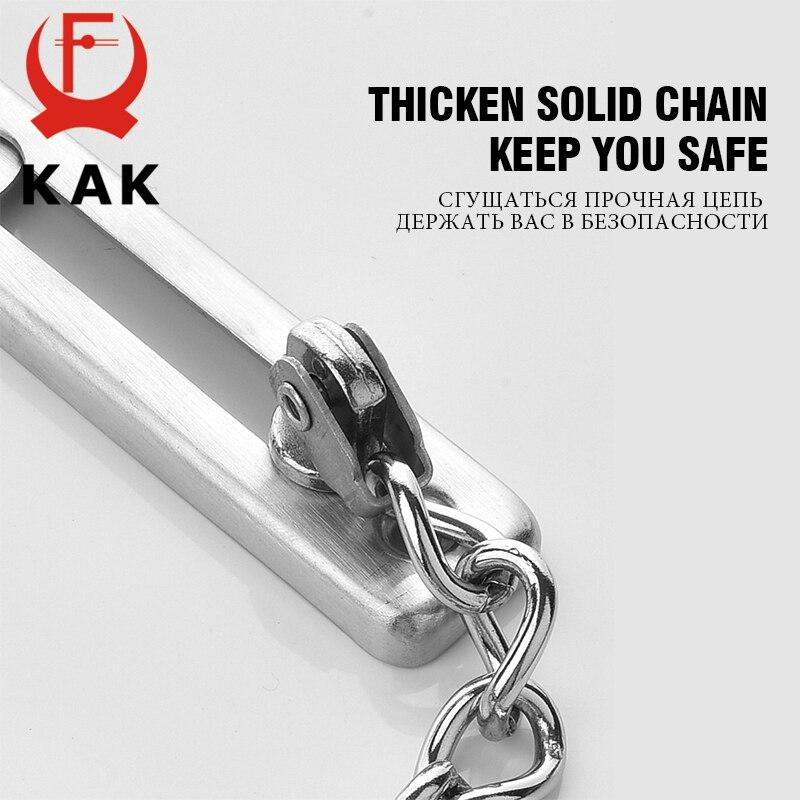 Купить с кэшбэком KAK 304 Stainless Steel Security Door Chain Lock Anti-theft Door Chain Door Latch Nail Free Glue Thicken Door Lock Hardware