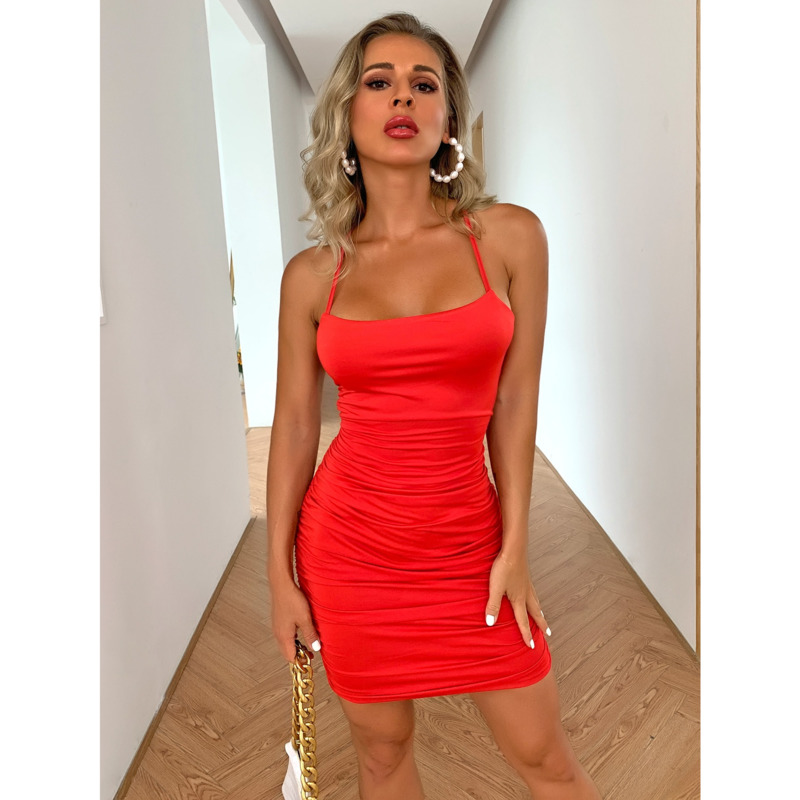 Pofash Red Spaghetti Strap Mini Dress Women Sexy Lace Up Backless Club Party Dresses Ruched Bodycon Summer Dresses 2020 Vestidos 7