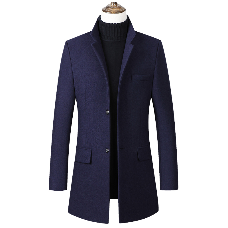 Men Wool Blends Coats Autumn Winter New Solid Color Casual Formal High Quality Men's Wool Jacket Cotton Liner Trench Coats