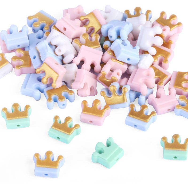 20 Pcs/pack Mini Silicone Beads Cute Crown Shape For DIY Baby Teether Pendant