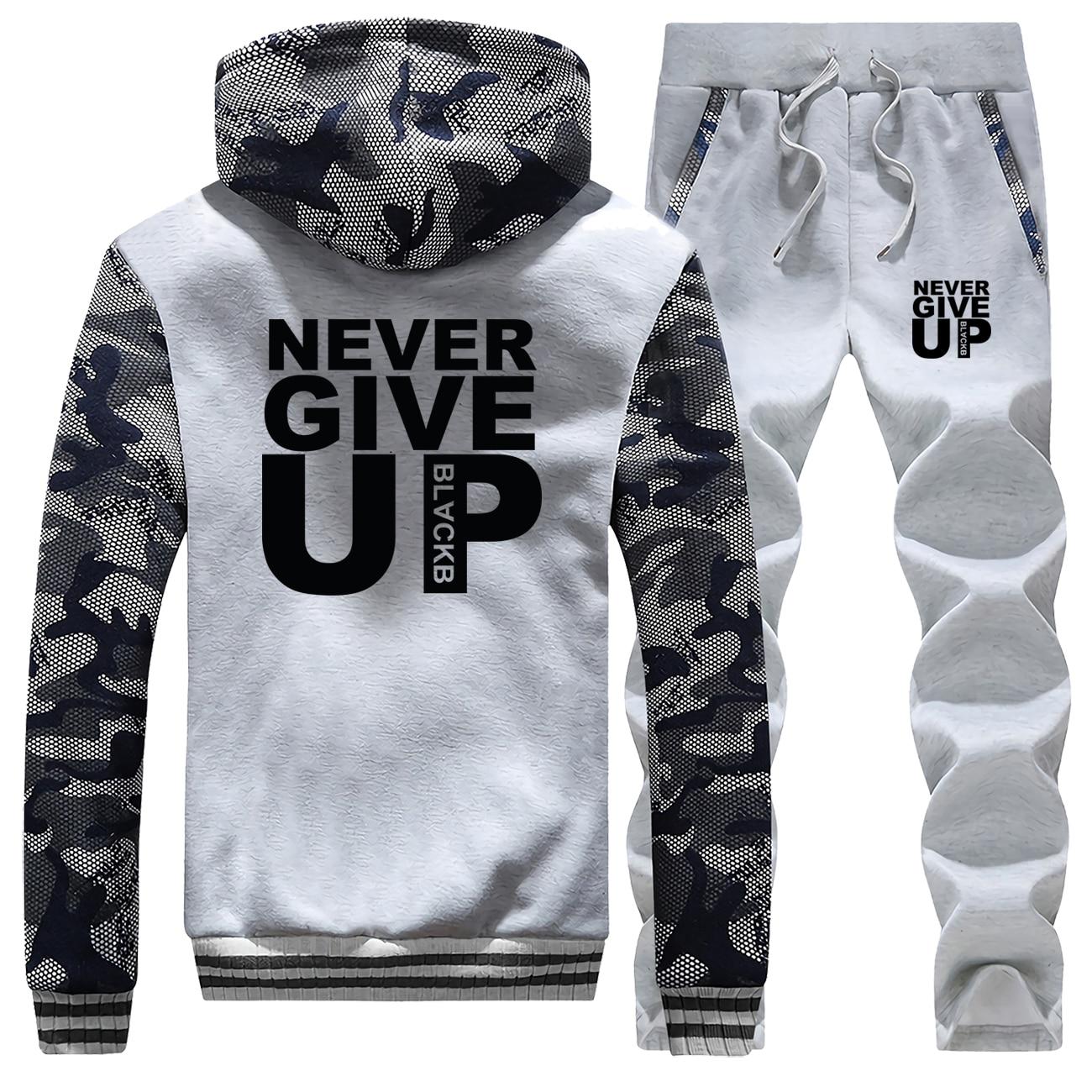 Men's Hoodies Never Give Up Letter Print Jaket+Pants 2 Piece Sets Men Sweatshirt Warm Suit Camouflage Tracksuit Set Mens Coat