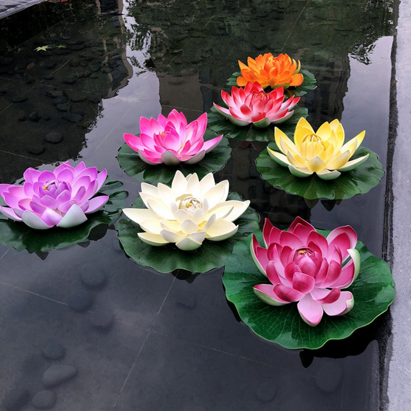 1pc Colorful Home Artificial Fake Lotus Simulation Water Lily Garden Pool Plant Ornament Floating Flower Pond Tank Plant