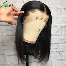 Siyo em linha reta peruca dianteira do laço brasileiro curto bob perucas de cabelo humano para preto feminino 100% perucas de cabelo remy 13x4 reta bob peruca
