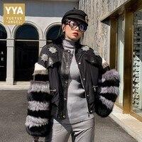 High Street Luxury Mink Fur Fox Fur Sleeves Patchwork Sheepskin Jackets Genuine Leather Diamonds Womens Short Coats Plus Size