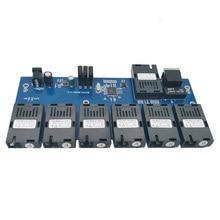 Interruptor Fast Ethernet convertidor 20KM Ethernet de fibra óptica convertidor de medios de modo único 1 RJ45 y 7 puerto de fibra óptica SC 10/100M