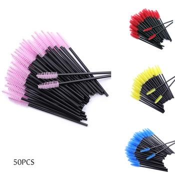 50Pcs/Pack Disposable Eyelash Brushes Mascara Wand Eye Lashes Cosmetic Brush Eyelashes Extension makeTool Spoolers Makeup Tools 1