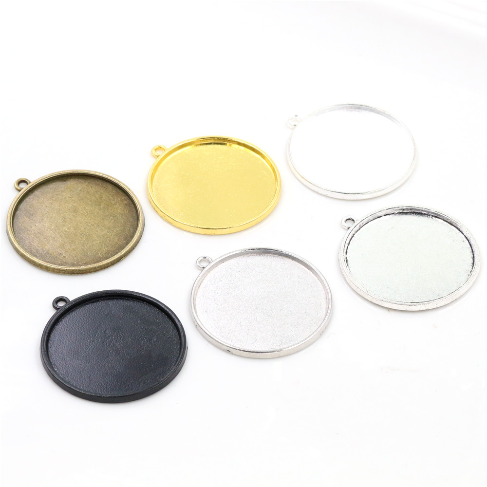 10pcs/Lot 30mm Inner Size 6 Colors Plated Classic Style Cabochon Base Setting Charms Pendant