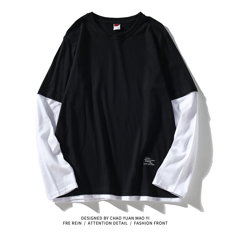 High Quality 2020 Autumn Spring Fashion Oversiz Fake Two Pieces Tshirt Men's Long Sleeve Casual O Neck T-Shirt For Man TOP TEES