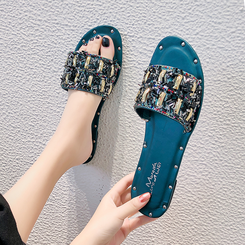 Women Simple Fashion Popular Slippers Female Summer Wear 2019 New Students Flat Net Red Korean Beach Sandals And Slippers Women