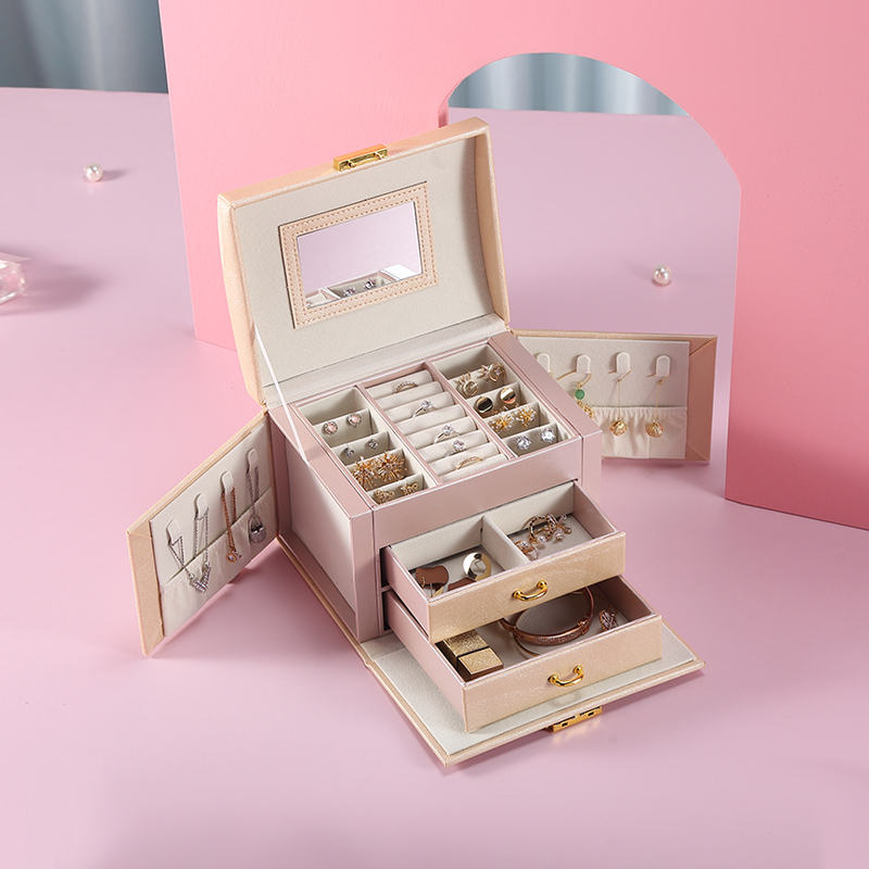 2020 Large PU Leather Jewelry Storage Box Organizer Drawer Earring Ring Necklace Jewellery Case Velvet Girls