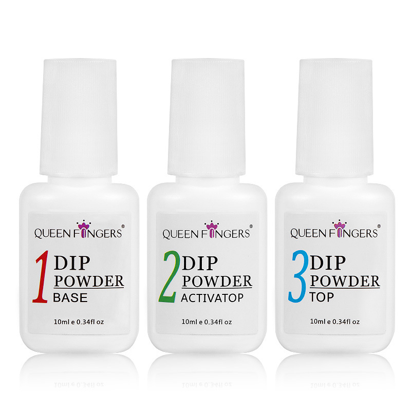 Dip Powder Gel Liquid Activator,Base,Top,Brush Saver 10ml, Dipping Powder Acrylic Nail Pedicure Step1-4, Natural Dry Gel Kit M89