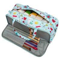 Bolsa de tejer de almacenamiento de hilo vacía bolsa organizadora de tejer portátil para hilos de algodón, ganchos de ganchillo, estuche de almacenamiento de agujas de tejer