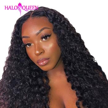 HALOQUEEN perwersyjne kręcone wiązki z 13 #215 4 frontalnym zamknięciem brazylijskie koronkowe przednie z wiązkami Remy wiązki ludzkich włosów z zamknięciem tanie i dobre opinie Remy włosy = 20 Brazylijski włosy Wszystkie kolory Przestawianie Hair Bundles Kinky Curly Human Hair Kinky Curly Hair Extension