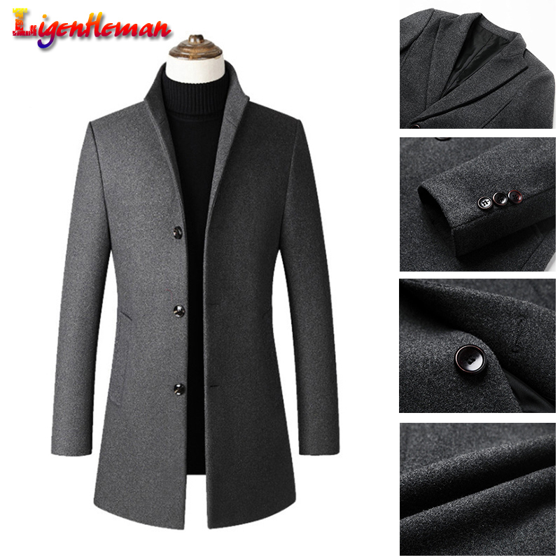Men's Long Cotton Collar Trench Coat Slim Collar Wool Coat Warm Jacket Winter New Quality Men's Wool Coat Casual Windbreaker