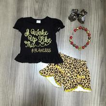 SUMMER baby girls children clothes outfits boutique wake up like this sequins leopard shorts sleeveless match accessories