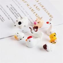 10pcs Hot Sale Resin Cute Animal Pendant  Dog Pig Sheep Chicken Goose Bee Cute Cartoon Earings For Girls Diy Jewelry Accessories
