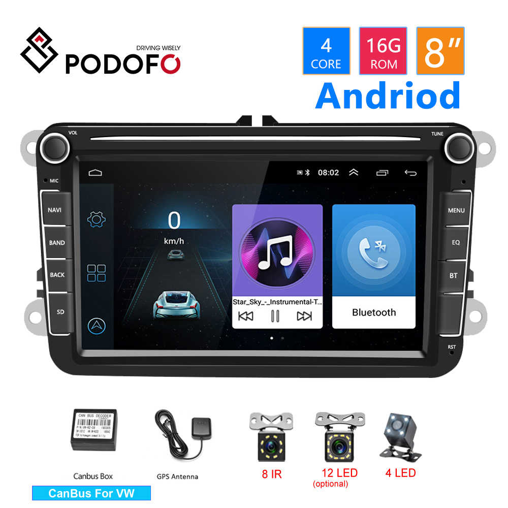 Podofo 2 din GPS 8 ''Android Multimedia Player Mobil Radio Mobil Audio Stereo Bluetooth Untuk Kursi/Skoda/passat b5 b6 /Golf 5 6 /Polo