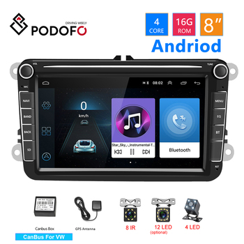 Podofo Android Car Multimedia Video Player 8'' 2Din Radio GPS Audio Stereo Bluetooth For Seat/Skoda/Passat b5 b6 /Golf 5 6 /Polo image
