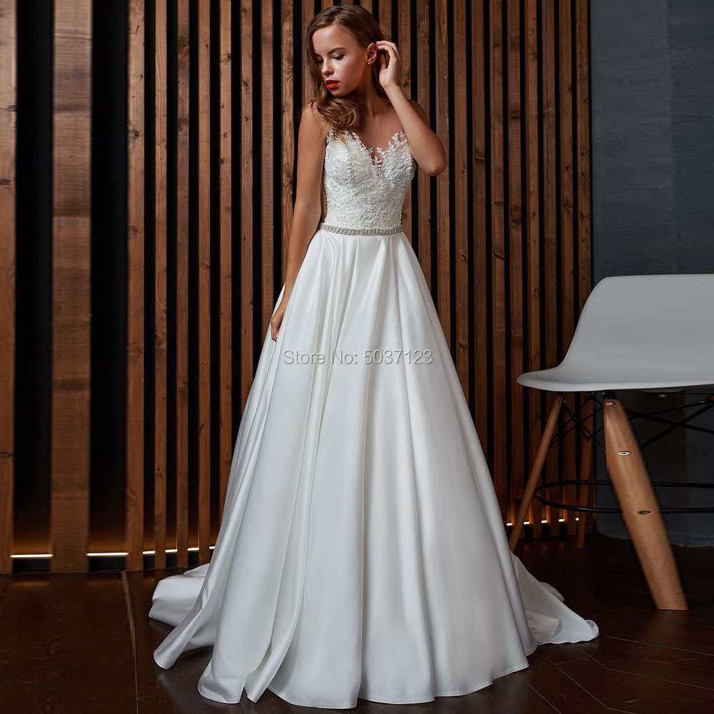 Satin A Line Wedding Dresses Scoop Vestido De Noiva Elegant 2019 Sleeveless Lace Appliques Bridal Gowns Robe De Mariee