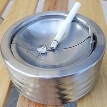 Лидер продаж Нержавеющая сталь дыма блюдо мундштук комнатный офис Рабочий стол круглая пепельница с крышкой