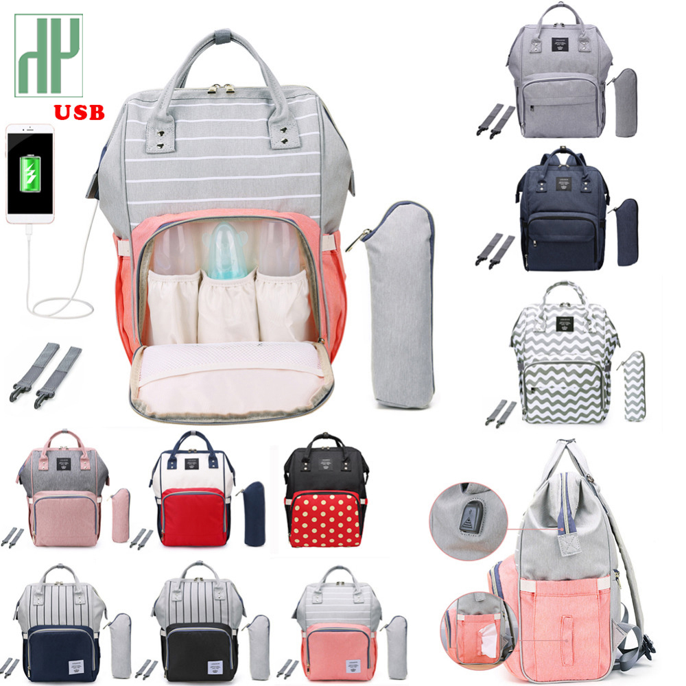 Fashion USB Mummy Maternity Diaper Bag Large Nursing Travel Backpack Designer Stroller Baby Bag Baby Care Nappy A Bag