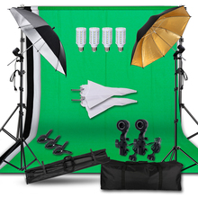 Professional Photography Lighting Equipment Kit with Background Support System Backdrops Soft Umbrella Light Bulbs Photo Studio