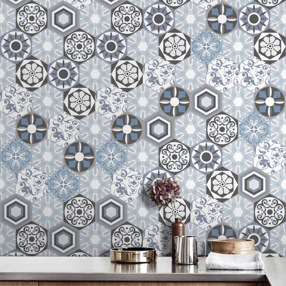 Pegatina de pared de ladrillo papel pintado pared calcomanía Mural Arte Creativo 20*500cm PVC 3D hexagonal 5M baño sala de estar auto-adhesivo