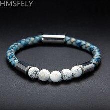 HMSFELY Retro Style Light Blue Men Genuine Leather Bracelet Natural Ore Stone Beaded Magnetic Clasp Rope Bracelets For Women