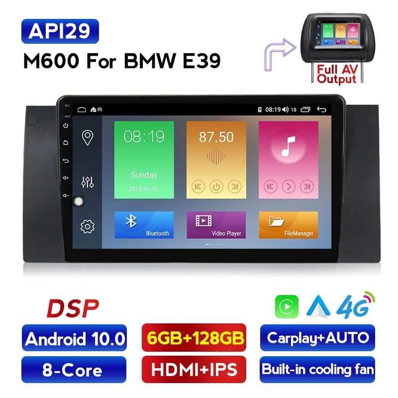 2.5D ips dpsアンドロイド10.0カーラジオdvdプレーヤー、bmw 5シリーズE39 X5 E53 bluetooth dvr秒bt