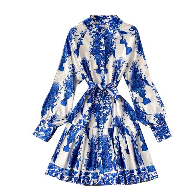 Women Court Wind Print Dress Retro Stand Collar Puff Sleeve Button Dresses Autumn Korean A-line Streetwear Short Dress 6