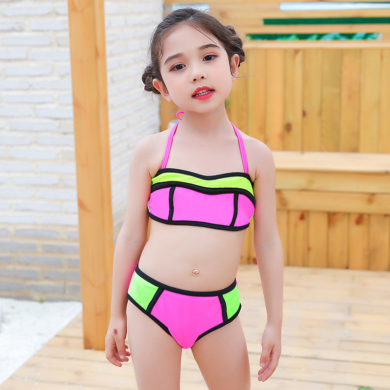 Split Type Triangle Bikini GIRL'S Swimsuit Cute Little Girl Children Infants Baby Bathing Suit Price