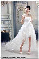 free shipping 2020 mini short lace Fashion vintage irregular style solid color white bow bra wedding dress
