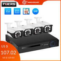 Fuers 8 Canali 4 Canali Sistema di Telecamere di Sicurezza CCTV Sistema di Telecamere di 5MP Macchina Fotografica Impermeabile IR-CUT NVR POE Viso di Rilevamento NVR kit