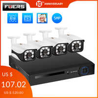 Fuers 8Channel 4Channel Security Camera System CCTV Camera System 5MP Waterproof Camera IR-CUT NVR POE Face Detection NVR Kit