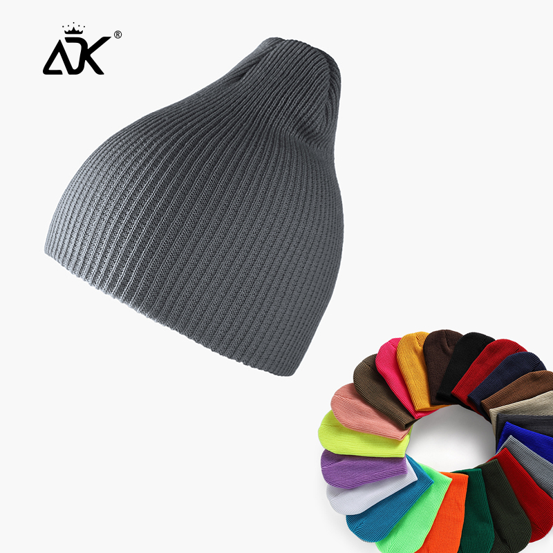 Men Beanie Pure Color Ribbed Long Knitted Autumn Winter Bonnet Outdoor Breathable Casual Gorros Fashion Stretchy Hats