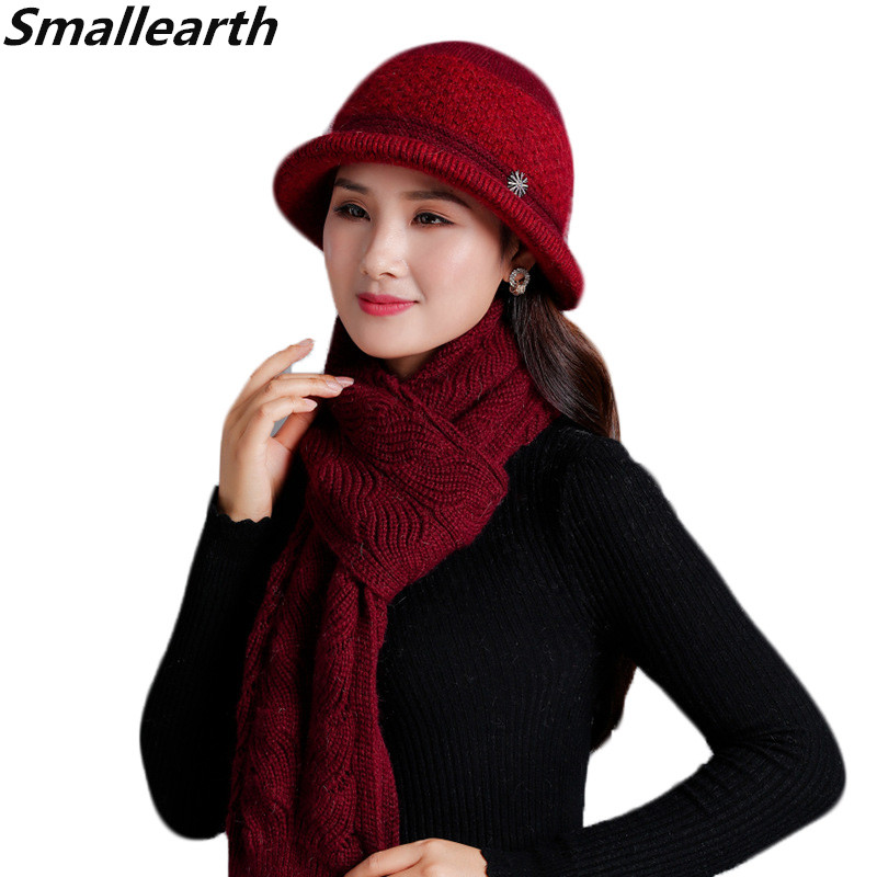 New Winter Women Rabbit Fur Hat Scarf Set Female Warm Wool Knitted Plush Hat Scarf Shawl Sets Crochet Bonnet Mom Cap Gifts Shawl