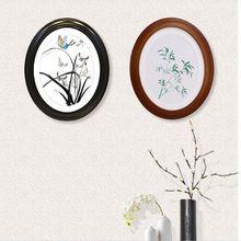 7/10/12 pulgadas estilo europeo madera Oval foto marco Vintage boda estudio decoración cuadros de pintura colgante de pared