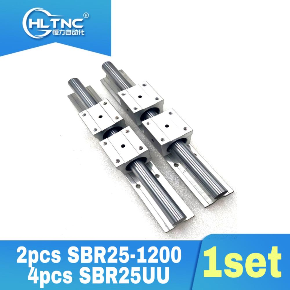 25MM <font><b>linear</b></font> guide 2 pcs <font><b>SBR25</b></font> 1200mm <font><b>Linear</b></font> Bearing <font><b>Rails</b></font> & 4 pcs SBR25UU <font><b>Linear</b></font> Motion Bearing Blocks image