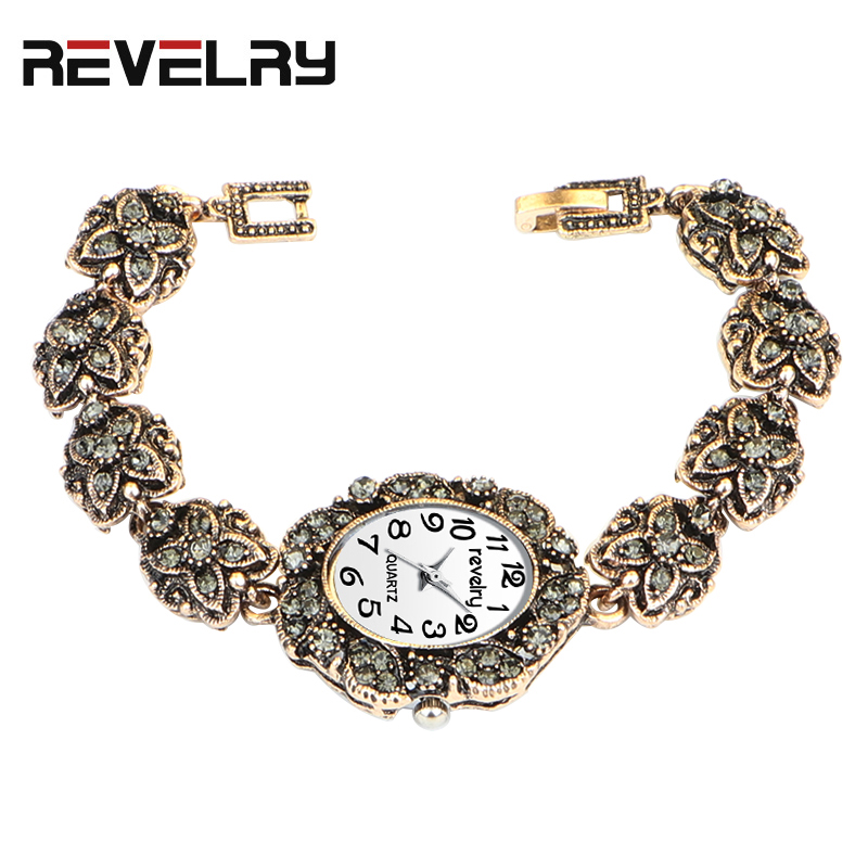 QINGXIYA Brand Women Ancient Gold Bracelet Luxury Watches Grey Rhinestone Ladies Quartz Wristwatch Casual Women Dress Colck