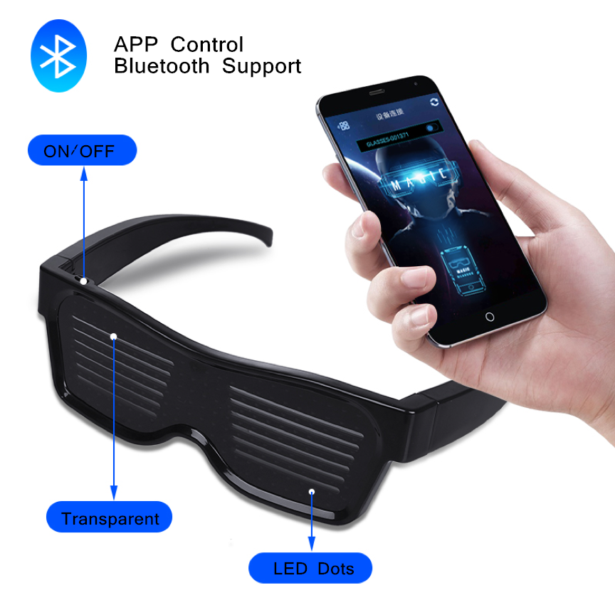 Luminous Bluetooth LED Glowing glasses Rechargeable App Control Customized Magic Scrolling Led text Message Glasses Led Party image