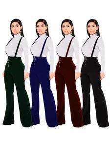 Echoine Women Trousers Buckle Pants Leg-Suspenders Flared Streetwear Zipper Retro High-Waist