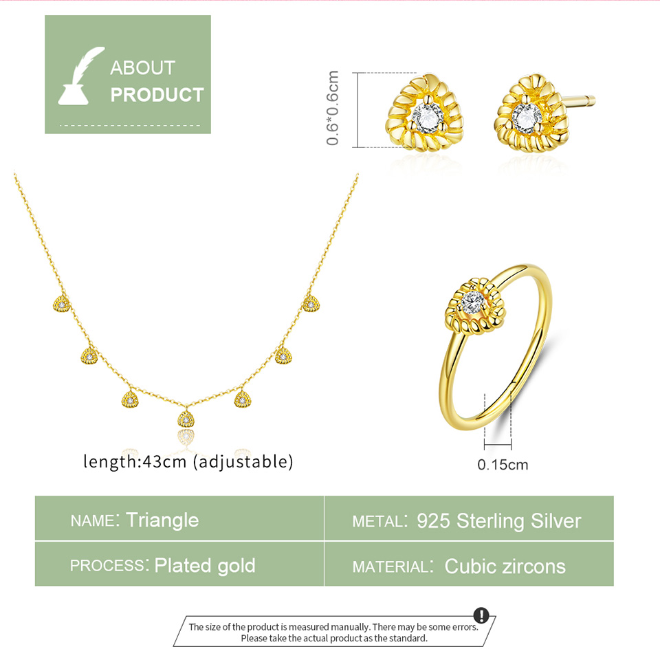 Image 5 - bamoer Gold Color Silver 925 Jewelry New Fashion Triangle Necklae Stud Earringd Ring Jewelry Sets for Women Lady Bijoux ZHS169Jewelry Sets   -