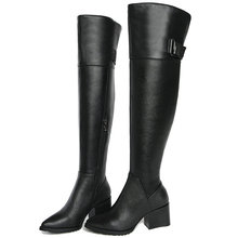 Women Black Genuine Leather Pointed Toe High Heel Over The Knee High Boots Female Thigh High Winter Warm Platform Pumps Shoes leather thigh high boots for sale black over the knee boots pointed toe boots high heel stiletto shoeswinter shoes for women