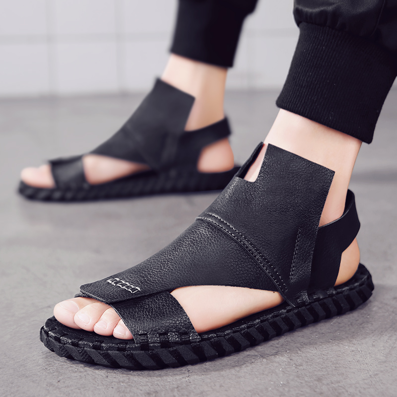 The New Summer Sandals For Men Are Black Leather, Waterproof And Non-slip In Roman Style Yuppie Handsome Flat Loafers Open Toe