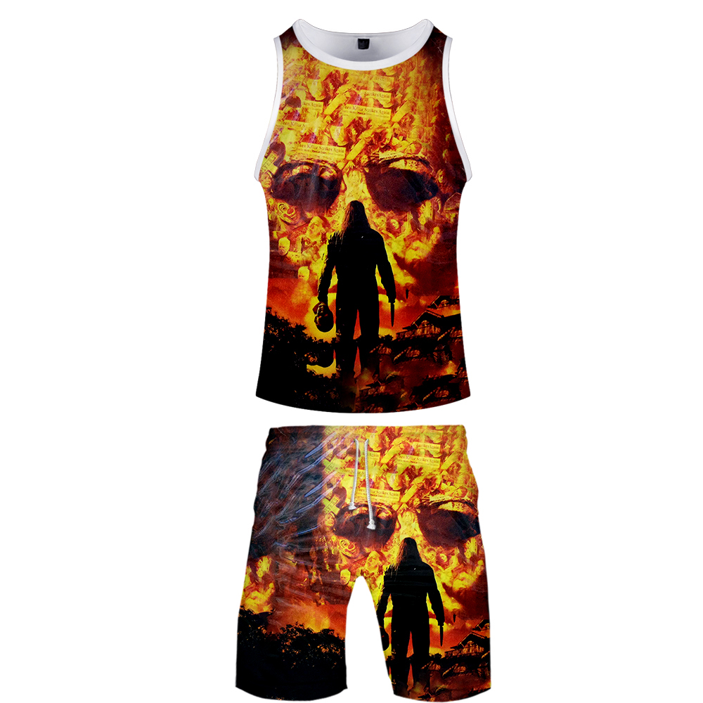 Halloween Two Piece Set Men Horror Movie 3D Print 2 Piece Vest Set Jerseys Harajuku Summer Clothing Dropshipping And Wholesale