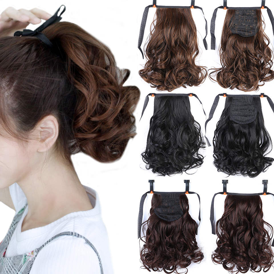 DIFEI Short Wavy Synthetic Ponytail Hair Drawstring Ponytails Heat Resistant Hair For Women Ponytail Hair Extensions