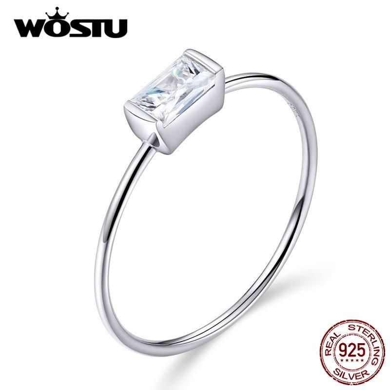 WOSTU Zircon Wedding-Rings Finger 925-Jewelry Fashion Ring Baguette Silver 925-Sterling-Silver