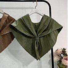 Lanmrem 2020 봄 새로운 패션 캐주얼 간단한 슬림 솔리드 컬러 야생 pu 따뜻한 windproof 목도리 여성 pb409