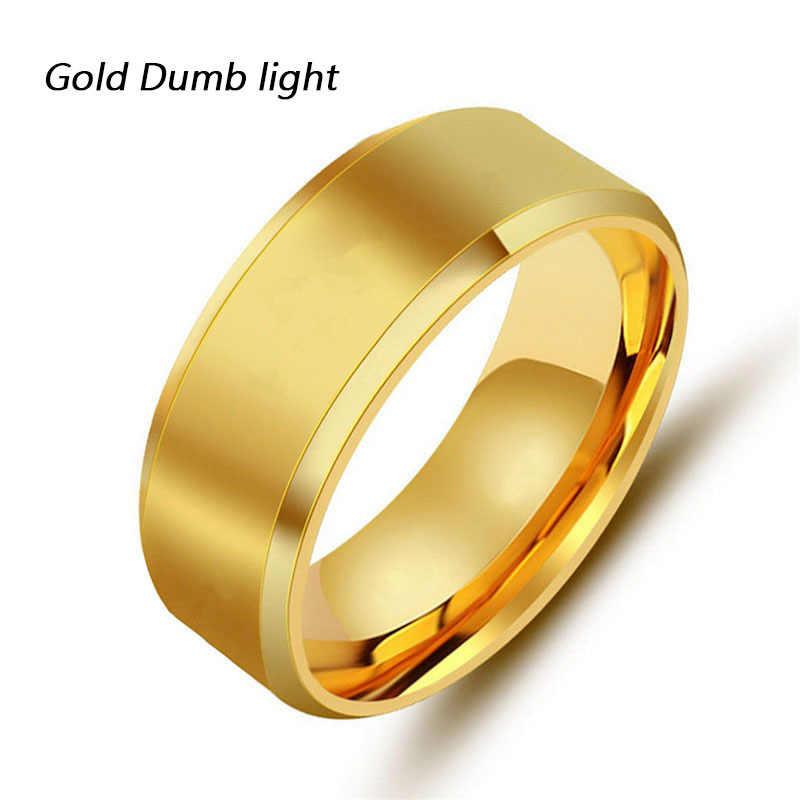 Anel de dedo de titânio preto para homens, 8mm, marca, anéis de dedo inoxidável para mulheres, cor dourada, amante, casal, qualidade dos namorados presentes do dia